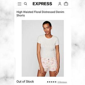 Express Highwaisted Floral Distressed Denim shorts
